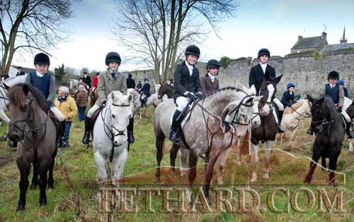 Photographed at the Hunt in Fethard on January 2 are L to R: Harry Swan, Tim Hyde, Jack O'Leary, Susie Osborne, Ben Osborne and Megan O'Leary