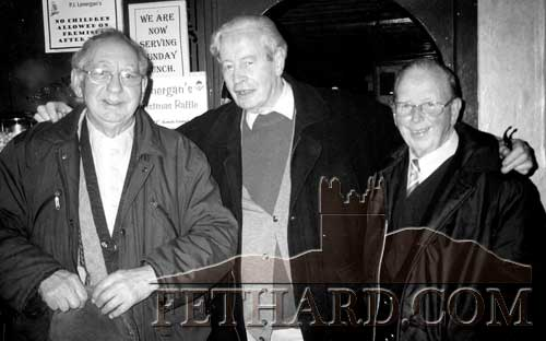 The late Joe Dalton (left) photographed on a visit to Fethard some years ago with his long lost friend Gus Cummins (RIP) and the late Jimmy McInerney (centre)