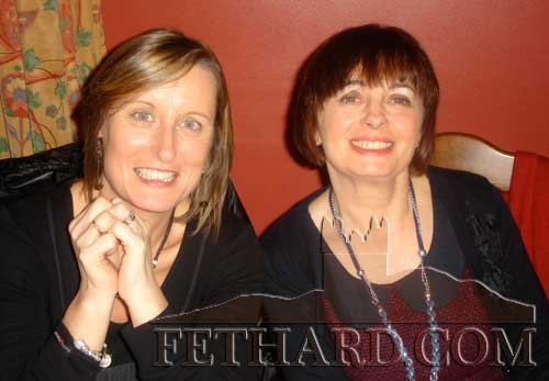Michelle O'Connor and Teresa Fehilly photographed at the Fethard Knitting Group's winter party at Raheen House