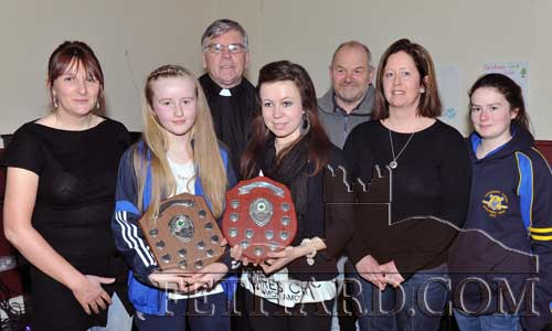 Photographed at the Fethard Ladies Football Club medal presentation function are (left to right): Maureen McCarthy Secretary, Kate Davy captain U12 County Champions, Canon Tom Breen Club President, Mary Jane Kearney captain Minor County Champions, John O'Gorman Tipperary County Board, Anita Manton chairperson Fethard Ladies Football Club, and Cathy O'Donoghue Tipperary County Board.