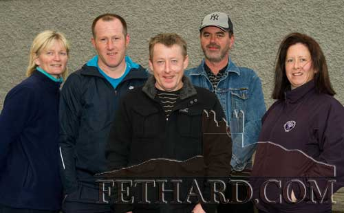 Members of Fethard Ladies Football Club were delighted to present the winners of the club's Last Man Standing fundraiser on Monday, April 23. Pictured are Alice Butler, Miceal Spillane, Stephen Nagle and James Lyons (joint-winners), and Anita Manton.
