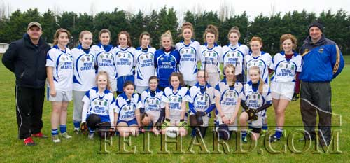 The Fethard Ladies Minor team who won the Division C County Semi Final on Saturday, November 24. Back L to R: Michael Tillyer, Emma Walsh, Sadhbh Horan, Karen Hayes, Aobh O'Shea, Aimee Pollard, Ciara Tillyer, Lucy Butler, Katie Butler, Niamh Shanahan, Annie Prout and Tommy Sheehan. Front L to R: Evie O'Sullivan, Laoise Stapleton, Ciara Hayes, Jessie McCarthy, Megan Coen, Molly O'Meara and Kate Davey.