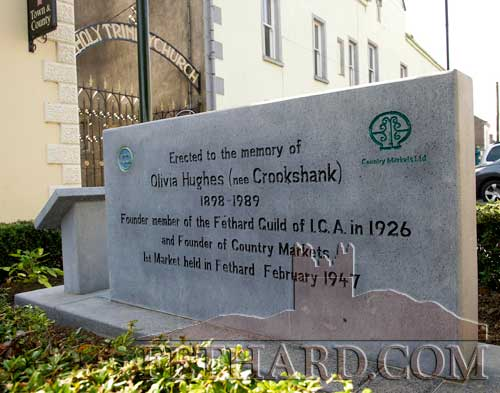 Monument erected on Main Street in memory of Olivia Hughes, founder member of the Fethard Guild of ICA in 1926 and founder of Country Markets in 1947.