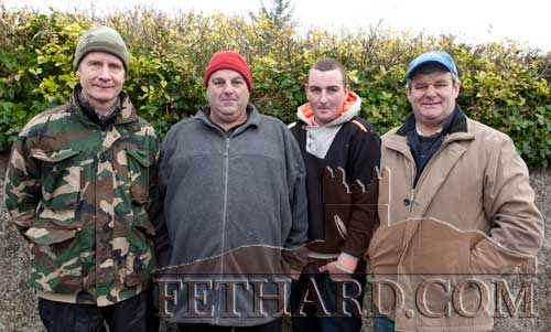 Photographed at the Premier Hunt Meet in Fethard Sunday February 5 are L to R:  Jer Hayde, Rosgreen; Tom Hally, Cashel; Shane Hally, Cashel; and Tom Walsh, Coleman.