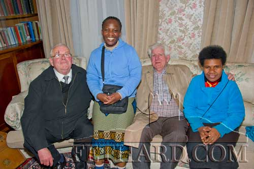 Photographed at the Presentation Sisters 150th Anniversary Celebrations in Fethard are L to R: Gus Fitzgerald, Sr. Clementina (Zambia), Percy O'Flynn and Sr. Regina (Papua New Guinea).