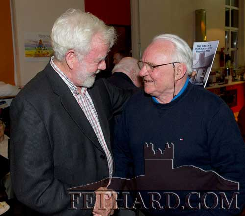 Joe Kenny (Dublin) meets his old friend Sean Gunne (Clonmel) at The Green and Barrack Street Reunion