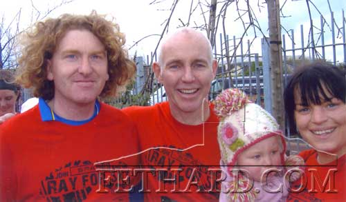 Ray Darcy (centre) photographed with Magic and Mary Ryan with their daughter Milly at the 'Ray for 5K' run in Kilkenny on Monday, April 2.
