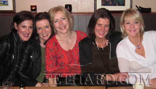 Helen Carrigan, Clonacody House, Fethard, photographed on a social night out with her school friends last weekend in Fethard. L to R: Sue O'Keeffe, Jenny Loftus, Helen Carrigan, Judith Sadlier and Caroline Griffin.