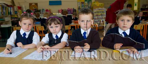 Starting school at Holy Trinity National School are L to R: Anna Hayes, Rebecca Kiely, Joshua Flynn Nugent and Michael Dedyuk.