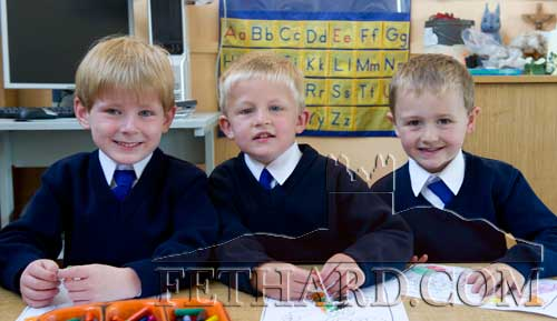 Starting school at Holy Trinity National School are L to R: Rory O'Mahoney, Jack Donegan and Charlie Walsh.