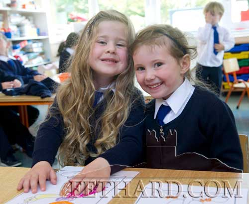 Starting school at Holy Trinity National School are L to R: Isobel Herbert and Jasmine Brennan.