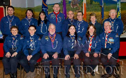 Chief Scout Michael John Shinnick photographed with local leaders at Fethard Scouting 25th Anniversary celebration held in Fethard Ballroom. Back L to R: Mike McCarthy, Tony Burgess, Nicola Quigley, John Cloonan, Brendan Bailey, Denis Larkin, Mary Healy, John Walsh. Front L to R: Anna Bailey, Laura O'Shea, Chief Scout Michael John Shinnick, Rachel Hanlon, Michelle Hennebry and Robert Phelan.