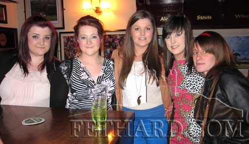 Enjoying a night out in Fethard are L to R: Niamh McGrath, Becky Fogarty, Danielle Breen, Laura Mullins and Lisa Doyle.