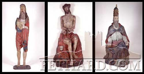 The three original Fethard medieval statues now on display in the National Museum of Ireland