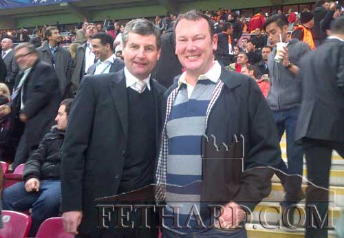Denis Irwin former Manchester United and Republic Of Ireland international , photographed with Anthony Colville at the Turk Telekom Arena in Istanbul at the Champions League match between Galatasaray and Manchester United