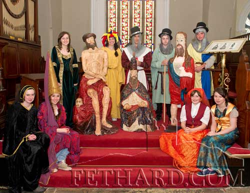 Pictured above Transition year students from Patrician Presentation Secondary school Fethard, dressed in Medieval costumes, with their Papier Mache replicas of the three wooden medieval statues from Fethard that are now housed in The National Museum Dublin. The students created the figure of St. John the Baptist with lamb on the right, while the other figures of Christ at Calvary and the Trinity Statue of God the Father were completed by a previous Transition Year group some years ago. Back L to R: Karen Hayes, Tara Horan, John-Paul Fitzgerald, Paul Norrby, James Walsh. Front L to R: Michelle Walsh, Aobh O'Shea, Sveta Novikova and Danielle Sheehan