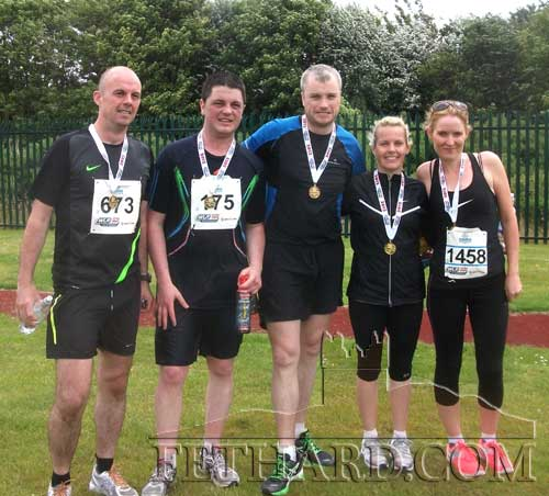 Congratulations to Fethard's Strylea athletes who completed the Waterford Viking Marathon. The boys ran 26 miles and the girls ran 13 miles – a great achievement for all. Well done. L to R: Alan Roche, Brendan Doyle, Noel O'Dwyer, Vicki Roche and Edel Roche.