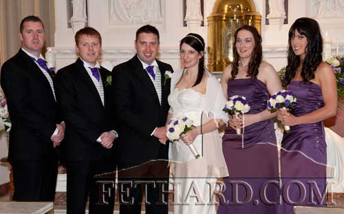 Married in Our Lady's Shrine, Knock, on Saturday, June 16, were Brian Kenny, St. Patrick's Place, Fethard, and Deirdre Lyons, Aughamore, Ballyhaunis, Co. Mayo. L to R: Shane Kenny, Adrian O'Boyle, Brian Kenny, Deirdre Lyons, Gillian Hunter and Linda Kenny.