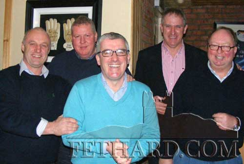 Photographed at the fundraiser to aid Cancer Research held at the Village Inn, Moyglass, are L to R: Tom Anglim, Bob Campion, David O'Loughlin, Maurice Moloney, Christy Grassick.
