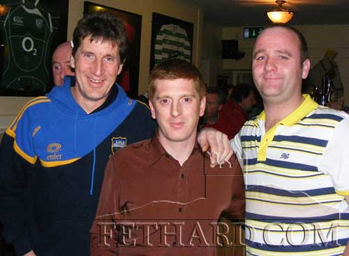 Photographed at the fundraiser in aid of Cancer Research held at the Village Inn, Moyglass, are L to R: Brian Higgins, Daithi Maher and Val O'Dwyer