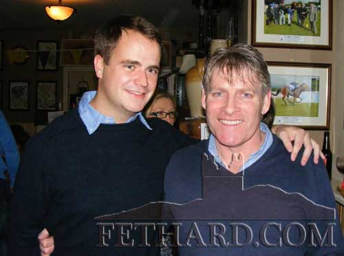 Photographed at the fundraiser in aid of Cancer Research held at the Village Inn, Moyglass, are L to R: M.V. Magnier and Joe Gleeson