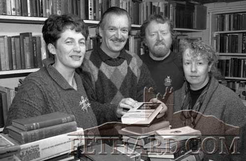 The late Rudi Holzapfel, author of Tipperariana, photographed above with members of Fethard Historical Society. The group are pictured in Rudi's secondhand bookshop in the old Pennyfarthing Arcade on Main Street, Tipperary Town, before the 1997 Tipperariana Book Fair. Rudi's book 'Tipperariana' was launched at the 1997 Book Fair and since then the book fair has been called the Tipperariana Book Fair. L to R: Dóirin Saurus, Rudi Holzapfel, Terry Cunningham and Margaret Newport.