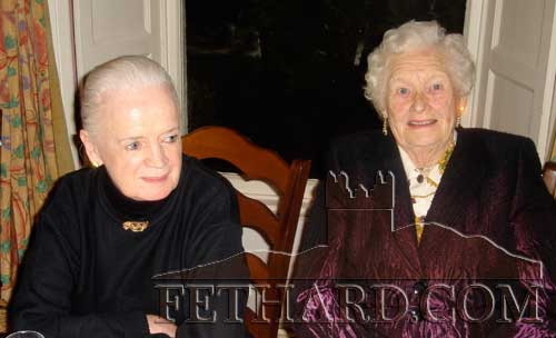 Rita Walsh and Bridie Lee photographed at the Fethard Knitting Group's winter party at Raheen House