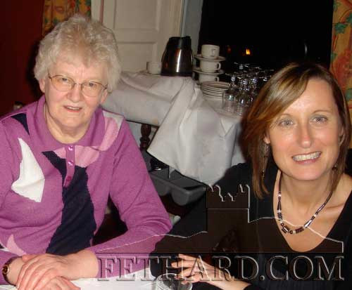 Agnes Evans and Michelle O'Donoghue photographed at the Fethard Knitting Group's winter party at Raheen House