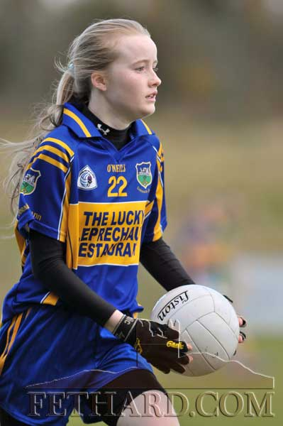 Kate Davey on her way to scoring one of Tipperary's goals in the Kerry v Tipperary Under 13 Inter-County match on Saturday, November 17.