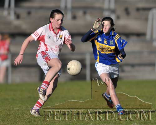 Ciara Hayes blocks her opponent in the Cork v Tipperary Under 13 Inter-County match on Saturday, November 17.