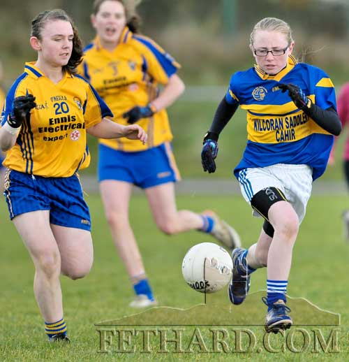 Megan Coen is first to the ball Clare v Tipperary Under 13 Inter-County match on Saturday, November 17.