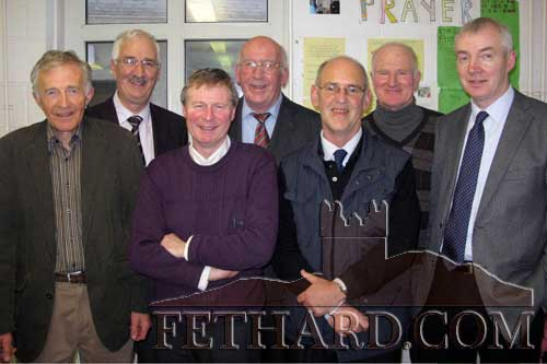 Michael O'Gorman photographed with some of his past teaching colleagues from Fethard Patrician Presentation Secondary School on the occasion of his retirement from teaching. L to R: Vincent Doocey, Dick Prendergast, Michael Leonard, Paddy Broderick, Michael O'Gorman, Denis Burke and Billy Farrell.