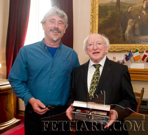 Silversmith Rory Donohoe photographed with President Michael D. Higgins