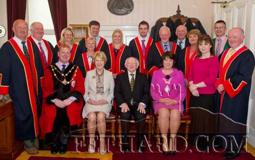 President Michael D. Higgins and his wife Sabina photographed with members of Clonmel Borough Council
