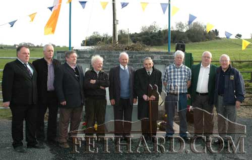 Photographed at the unveiling of the 'New Tipperary Rangers' monument are L to R: Joe Brennan (South Board Chairman), Steve McCormack (M.C.), Michael Bulfin (committee), Roger Shanahan (committee),  Johnny Hanly (committee), Michael Fanning who unveiled the monument, Ned McCormack (committee),  Miceál McCormack (committee),  and Sean Nugent (GAA County Board Chairman).