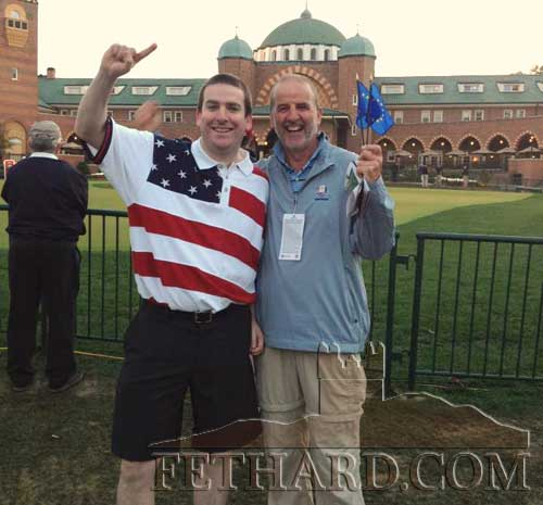Robert McCormack sent us this photograph taken at the Ryder Cup in Chicago where he and his father, John Joe McCormack, formerly from The Green, had the pleasure of seeing Europe retain the Ryder Cup. The photograph was taken on Saturday morning before matchplay in front of Medinah Country Club. John is delighted that Europe won. He had a great time and especially loved the closing ceremony.