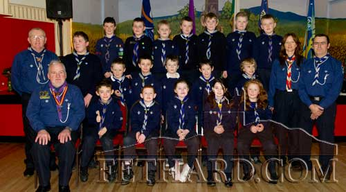 Fethard Cubs photographed with Chief Scout Michael John Shinnick at Fethard Scouting 25th Anniversary celebrations in Fethard Ballroom.