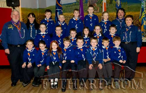 Fethard Beavers photographed with Chief Scout Michael John Shinnick at Fethard Scouting 25th Anniversary celebrations in Fethard Ballroom.