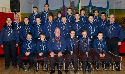 Fethard Scouts photographed with Chief Scout Michael John Shinnick at Fethard Scouting 25th Anniversary celebrations in Fethard Ballroom.