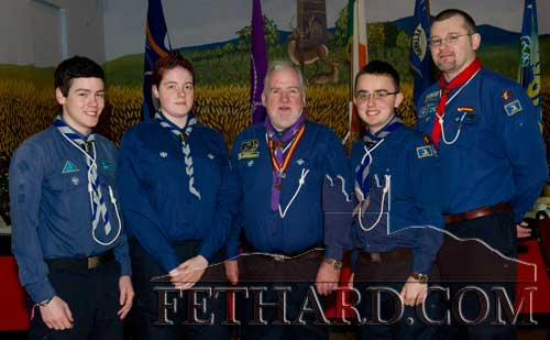Fethard Ventures photographed with Chief Scout Michael John Shinnick at Fethard Scouting 25th Anniversary celebrations in Fethard Ballroom. L to R: Colin Grant, Lorna Quigley, Chief Scout Michael John Shinnick, Paddy Walsh and John Cloonan.