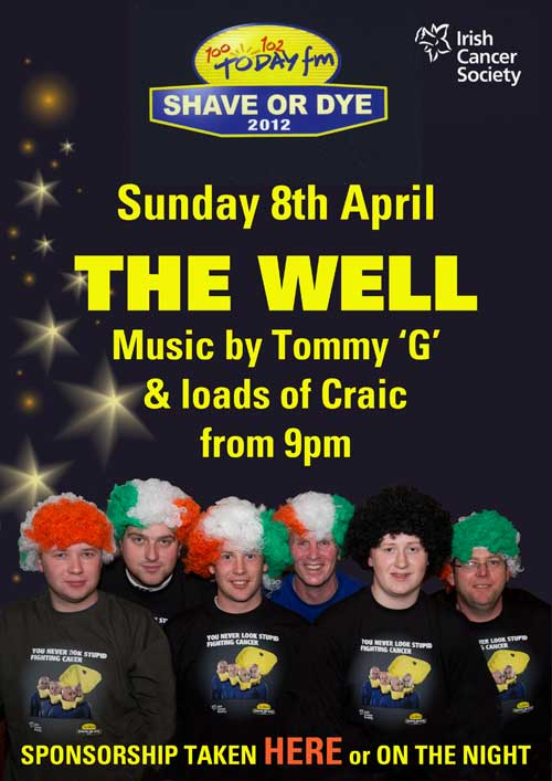 Fethard participants who have volunteered to take part in the upcoming 'Shave or Dye' fundraiser for the Irish Cancer Society. The group are currently seeking sponsorship for their 'Shave or Dye' event which will take place in The Well Bar at 9pm on Sunday, April 8. All are welcome for a great night's craic and music. L to R: Darren O'Meara, Damien Donovan, Paul Kenny, Willie O'Meara, Eoghan Hurley and David Lawton.