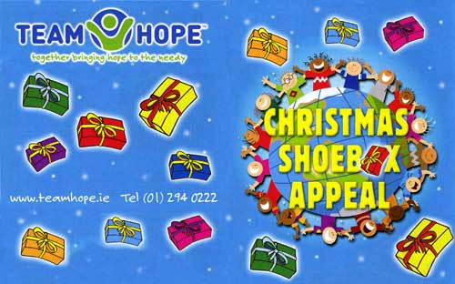 The Christmas Shoebox Appeal is an Irish project that promises to get your 'Christmas Shoebox' into the hands of a needy child in Eastern Europe. All they ask is for you to fill a shoebox with a range of simple Christmas gifts, and drop it off at your local drop off point in Fethard before November 12. All you need to do is get an average size shoebox (or a plastic storage container would also be great), and wrap it with Christmas paper. Choose who you'd like to receive your gift – a boy or a girl, in one of three age groups: 2-4 years, 5-9 years or 10-14 years. For further information contact Monica Pollard, at Centra Foodmarket, Fethard, or by Tel: 087 1258591.