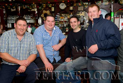 Enjoying a drink in Butler's Bar over Christmas were L to R: Anthony Coffey, Declan Lonergan, Aidan Fox and Paddy Cooney