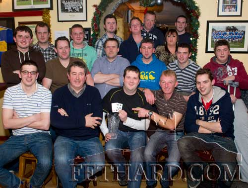 Participants of a Texas Holdem league photographed on the final night at Butler's Bar with overall league winner Eoin Whyte, Fethard. The league was played over the past 46 weeks