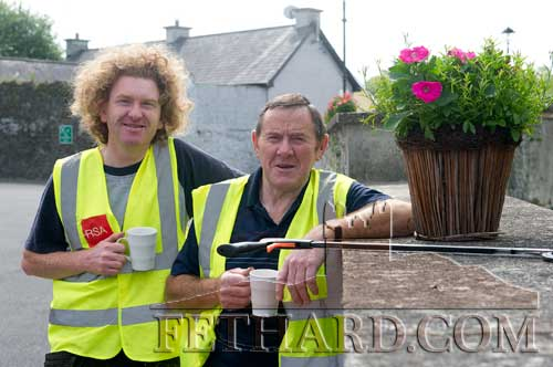 Taking a short break from ongoing Tidy Towns maintenance work in Fethard are L to R: Michael 'Magic' Ryan and Joe Keane (Chairman Fethard Tidy Towns)