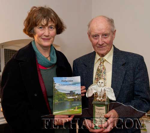 Dóirín Saurus, Fethard Historical Society, presenting the society's annual 'Tipperariana Book of the Year' award for 2011 to William J. Hayes for his book, 'Holycross, The Awakening of the Abbey', at a special reception held in the Abymill Theatre, Fethard on Saturday 28th January.