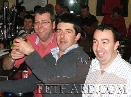 Photographed at the fundraiser to aid Cancer Research held at the Village Inn, Moyglass, are L to R: David Lawton, Stan Murphy and Seamus Tynan.