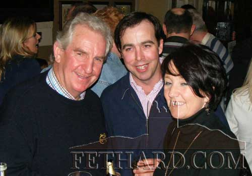 Photographed at the fundraiser in aid of Cancer Research held at the Village Inn, Moyglass, are L to R: Danny O'Connell, Michael Doyle and Michelle Ryan.