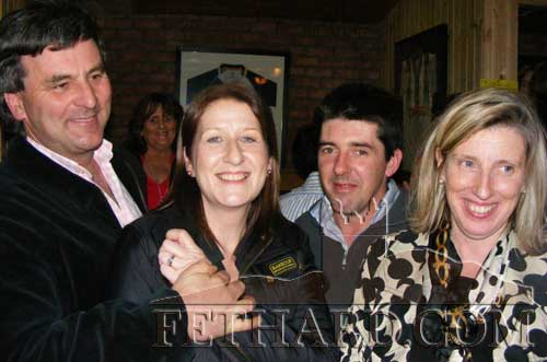Photographed at the fundraiser in aid of Cancer Research held at the Village Inn, Moyglass, are L to R: Brian O'Quigley, Deirdre Houlihan, Stan Murphy and Suzzanne O'Quigley.
