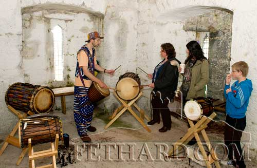 A drumming workshop was given by John Sutton in the Mural Tower on the grounds of Holy Trinity Church of Ireland
